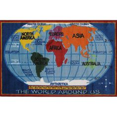 Fun Rugs Supreme Collection Kids World Map Area Rug