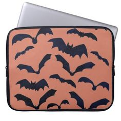 #Halloween Scary Black Bats Orange Laptop Sleeve - #Halloween happy halloween #festival #party #holiday