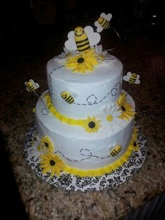 Gender reveal/ what will it bee baby shower cake facebook.com/cakesbyjenhavenar