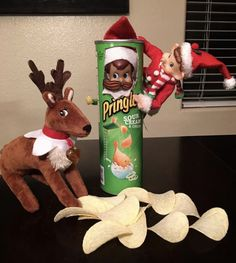 """Sour cream and onions is good, but elves really love the """"syrup and candy canes"""" flavored Pringles. From jack_the_elf_01."""