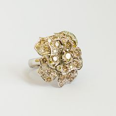 Vintage Diamond Flower Ring, using over 5ct of coloured diamonds - Jewellery by GemsBcoLtd
