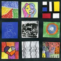 That artist woman: famous art inchies - i think this would b Mondrian, Middle School Art, Art School, Bridget Riley Op Art, Pop Art, 4th Grade Art, Ecole Art, Painted Paper, Art Classroom