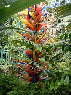 A Dale Chihuly glass sculpture at the Fairchild Tropical Gardens. Miami Florida