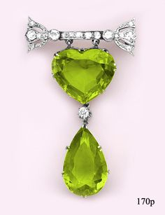 Heart-shaped Peridot, Pear-shaped Peridot, Diamond and Platinum Brooch, at Nelson Rarities,Inc