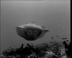 A sub designed by underwater pioneer Jacques Cousteau. Read our introduction to the British Pathé Underwater Exploration collection here: http://britishpathe.wordpress.com/2012/12/11/pathes-underwater-adventures/