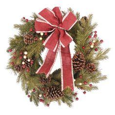 "Artificial Wreath w/ Ribbon (24"")"