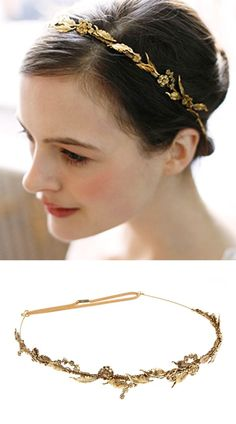 The Delicate Laurel Leaf Bandeaux by Jennifer Behr. each golden leaf and flower is wired by hand to a flexible bandeaux and finished with comfortable elastic at back. jenniferbehr.com