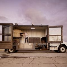 A vast majority of the 20 foot truck is an traditional wood-fired oven which reaches about 800 degrees.