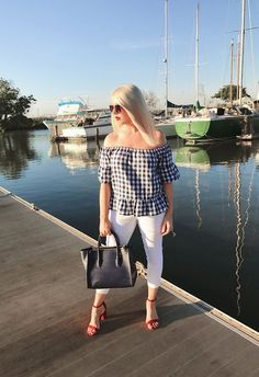 Red, White, and Blue Gingham Flutter Off Shoulder Top! Such a glorious combination!