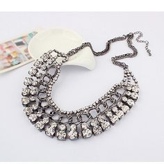 New-Fashion-Jewelry-Crystal-Choker-Chunky-Statement-Bib-Pendant-Chain-Necklace