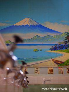 Mt. Fuji on the wall of Sento, Japanese bath house 銭湯