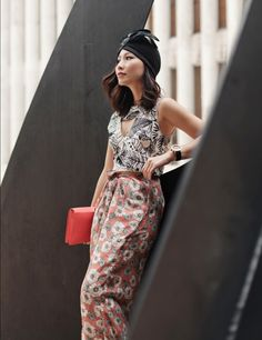 tropical print outfit with turban