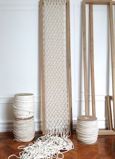 Custom macrame screen, made to order macrame, modern macrame room divider