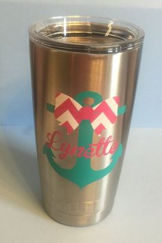 Anchor with Bow and Name Personalized Yeti by LeslisDesigns