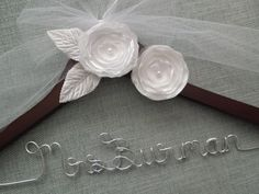 Personalized Wedding Hanger, WHITE Flowers, Brides Hanger, Wedding Dress Hanger, Bridal Hanger, Wedding Dress hanger, Custom Wedding Hanger
