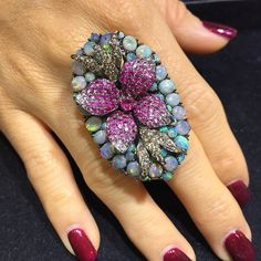 Wendy Yue Opal middle finger flower ring