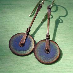 Purple and Green Enameled Copper Wheel Earrings