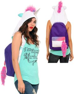 unicorn backpack hot topic | Run wild and free with the Unicorn Hooded Backpack for $29.50 at Hot ...