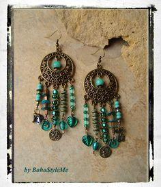 BohoTeal Chandelier Earrings, Shipwrecked Assemblage Earrings, Long Bohemian Earrings, BohoStyleMe, Kaye Kraus by BohoStyleMe on Etsy