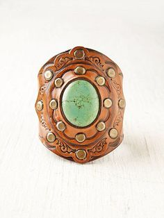 Aegean Leather and Turquoise Cuff