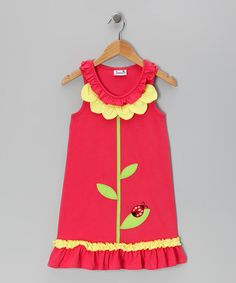 Take a look at this Coral Ladybug Petal Dress - Infant & Girls by Samara on #zulily today!
