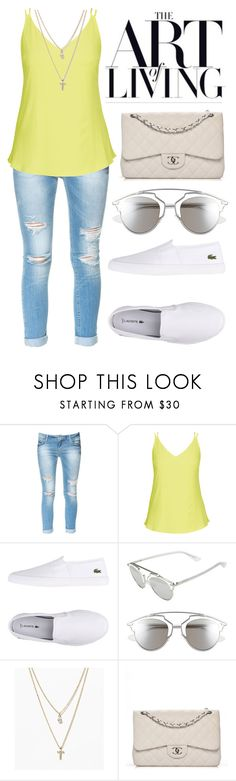 """""""341"""" by anadutra ❤ liked on Polyvore featuring Zara, City Chic, Lacoste, Christian Dior, LOFT, Chanel, white, tumblr, basic and day"""