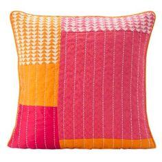 SPUN™ by Welspun Taanka Handcrafted Throw Pillow in Orange/Pink -  $36  BedBathandBeyond.com