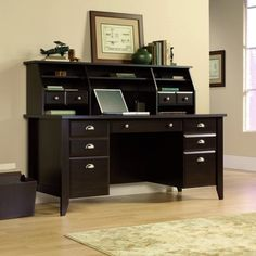 Espresso Computer Desk With Hutch Office Furniture | Mission Furniture | Craftsman Furniture