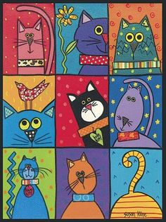 Cat Patch – these would be adorable painted on individual tiles and put around a mirror or in a tray or table! Cat Patch – these would be adorable painted on individual tiles and put around a mirror or in a tray or table! Arte Elemental, Art Fantaisiste, Cat Patch, Cat Quilt, Cat Crafts, Cat Drawing, Whimsical Art, Elementary Art, Crazy Cats