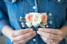 Did you see the pretty flower combs in our Mother's Day Picnic Shoot earlier today? Well we're sharing how to make them, courtesy of Alison Fleck of Juniper Designs! Flowers look so lovely in your hair and we think this easy DIY is perfect to wear for engagements, weddings, or just for fun! Who wouldn't wear...