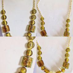 #collana in #vetro e #cristallo color #giallo con #sfere di #metallo. altri prodotti su www.oro18.eu.  #necklace in #yellow #glass and #crystals. ##handmade. others #jewelry on www.oro18.eu.