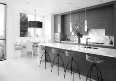 white granite and black kitchen - Google Search