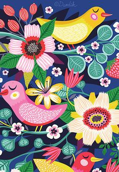 Three Little Birds. - limited edition giclee print of an original illustration x 10 in) Magazine Illustration, Children's Book Illustration, Floral Illustrations, Helen Dardik, Three Little Birds, Unique Toys, Poster Prints, Art Prints, Quilling Designs