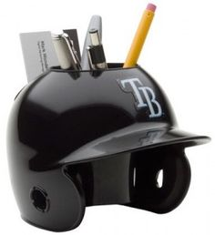 Could easily be a diy baseball pencil holder for office desk by using the souvenir ice cream helmets from your favorite team