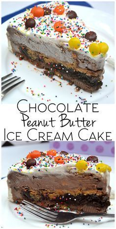 Chocolate Peanut Butter Ice Cream Cake - A layer of crushed cookies, fudge sauce & PB in between two layers of chocolate peanut butter ice cream - YUM! | http://www.craftycookingmama.com