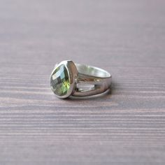 Impeccable quality Moldavite Ring by Village Silversmith