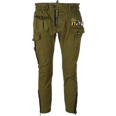 Dsquared2 'Golden Arrow' cropped military trousers ($573) ❤ liked on Polyvore featuring pants, capris, green, cropped trousers, green pants, zipper pants, elastic waist pants and brown crop pants