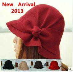 el otoño y el invierno bañera de la mujer de la tapa gorro de lana arco grande de fieltro de lana sombrero elegante cúp...