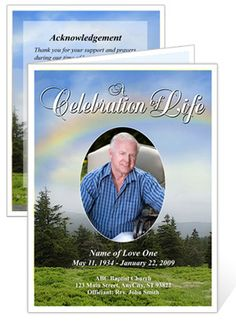 #PromiseFuneralCardTemplate With Preprinted Title has rainbow on the cover signifies promise.A promise of hope and of a life eternal beyond death.Your loved one's photo can be set in an oval frame in front of a beautiful scenic nature setting or the inside of the program.