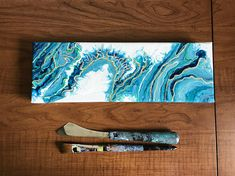 Don't forget Mother's Day is right around the corner! This beautiful acrylic pour painting on a stretched canvas makes a perfect addition to modern decor, or a new addition to give a beachy or earthy feeling. This acrylic painting would make a wonderful gift for someone to own an