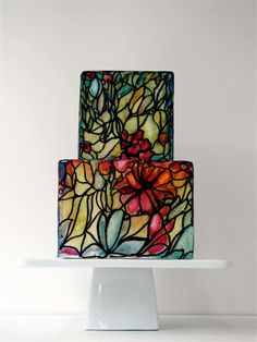 """Another incredible Maggie Austin cake - such gorgeous """"stained glass."""""""
