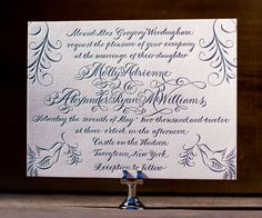 Formal wedding invitations ornately bedecked with elegant calligraphy and showcase luxury letterpress with Molly by Debi Zeinert.