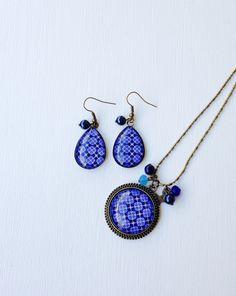 Parure bronze - Cabochon Mosaïque bleue - perles bleues : Parure par…