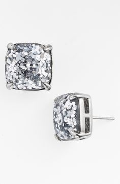 Crushing on these silver glitter stud earrings   Kate Spade.
