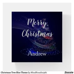 Christmas Tree Blue Theme Paper Weight  This paper weight is just in time for the holidays.  Customize with your name, text, images, or photos.  #paperweights #glasspaperweights #paperweightsglass #christmasgifts #christmas #BoyfriendgiftsforChristmas #personalizedchristmasgifts #personalizedgifts #personalizedgiftschristmas #ad #Zazzle #MissRhoadie