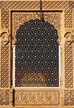Ornately Hand-crafted window of a Beautiful Haveli in Jaisalmer city, Rajasthan, India