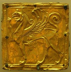 7th century BCE Delphi Museum, Greece.     This small hammered gold ornament may have been affixed to a belt