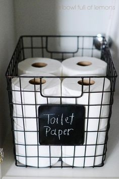 25 Toilet Paper Holder Ideas that will Get Your Decorating on a Roll Chic Wire Storage Basket with Chalkboard Label Wire Basket Storage, Wire Storage, Wire Baskets, Storage Bins, Bathroom Organization, Bathroom Storage, Organization Hacks, Organized Bathroom, School Organization