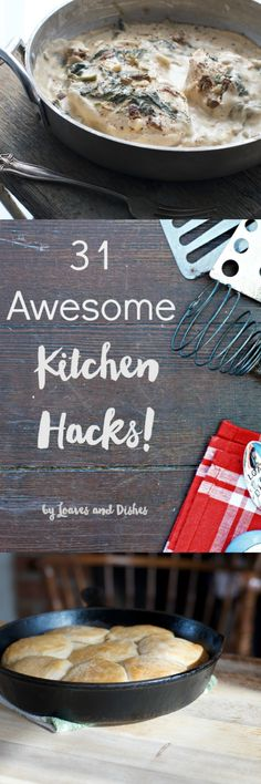 31 Awesome Kitchen Hacks shows you great shortcuts for the kitchen and includes a free printable.  Quick video as well to cover the basics.