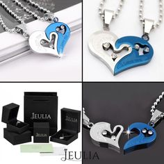 White&Blue Romantic 'Have Mutual Affinity' Heart Titanium Steel Lover 's Necklaces. #jeulia #necklace #fashionjewelry.